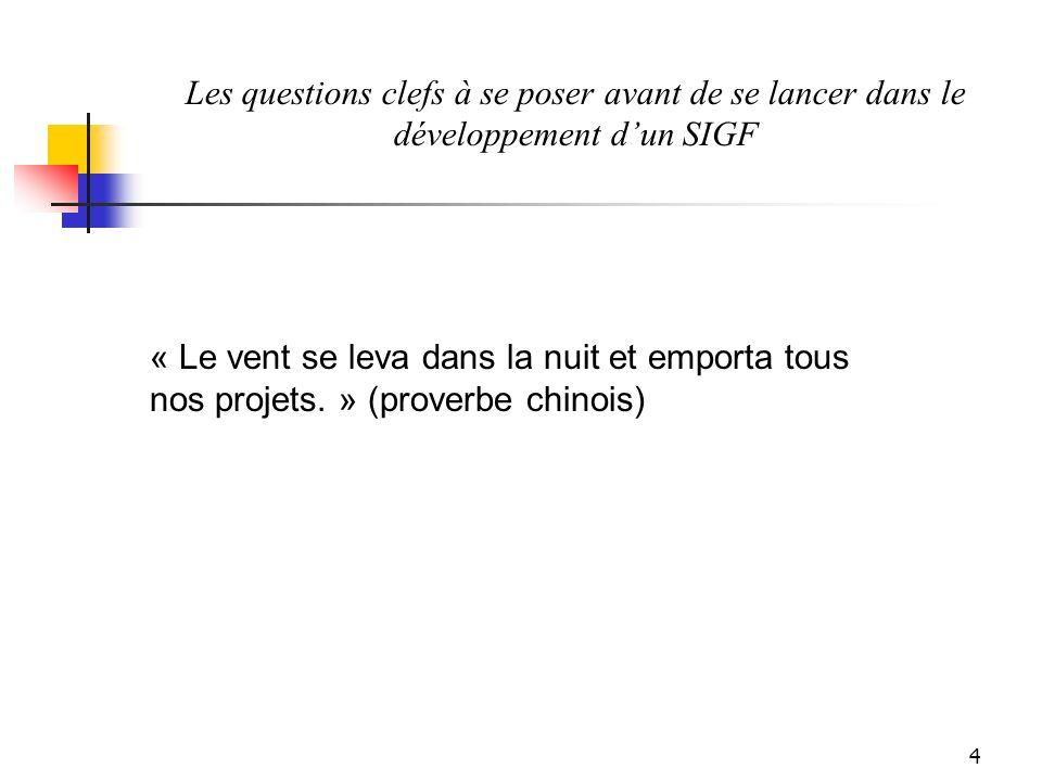 4 Les questions clefs à se poser avant de se lancer dans le développement dun SIGF « Le vent se leva dans la nuit et emporta tous nos projets.