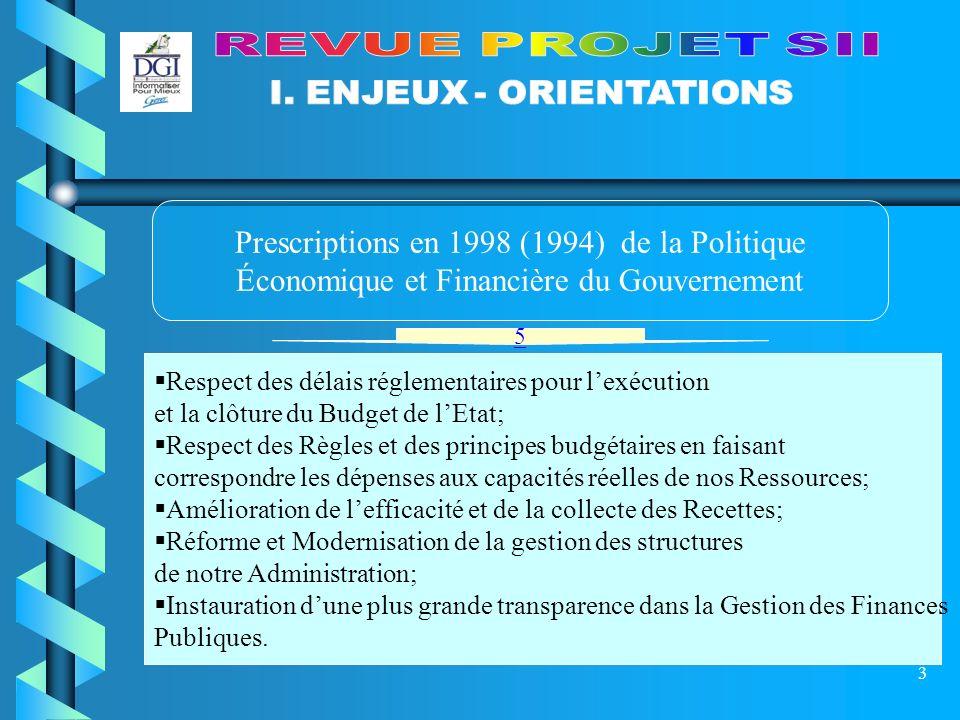 4 Prescriptions de la Politique Informatique du Gouvernement et en particulier celles du MEFBP Projet CRYSTAL en 1999 Puis Projet Système dInformation Intégré ( SII ) en Mai 2002 Programme de Réforme du Système dInformation ( Organisation Procédures Technologies )