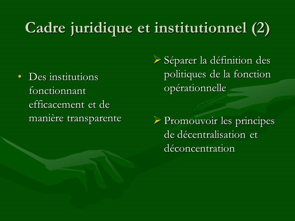 Cadre juridique et institutionnel (2) Des institutions fonctionnant efficacement et de manière transparenteDes institutions fonctionnant efficacement et de manière transparente Séparer la définition des politiques de la fonction opérationnelle Promouvoir les principes de décentralisation et déconcentration