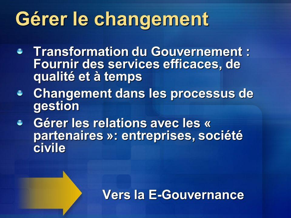 Gérer le changement Transformation du Gouvernement : Fournir des services efficaces, de qualité et à temps Changement dans les processus de gestion Gérer les relations avec les « partenaires »: entreprises, société civile Vers la E-Gouvernance