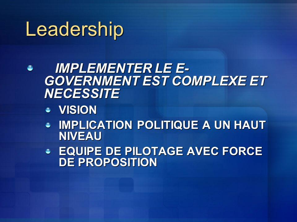 Leadership IMPLEMENTER LE E- GOVERNMENT EST COMPLEXE ET NECESSITE VISION IMPLICATION POLITIQUE A UN HAUT NIVEAU EQUIPE DE PILOTAGE AVEC FORCE DE PROPOSITION