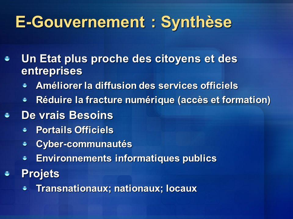 Vers le E-Gouvernement Phase 1: Présence Phase 2: Formulaires Phase 3: Transactions