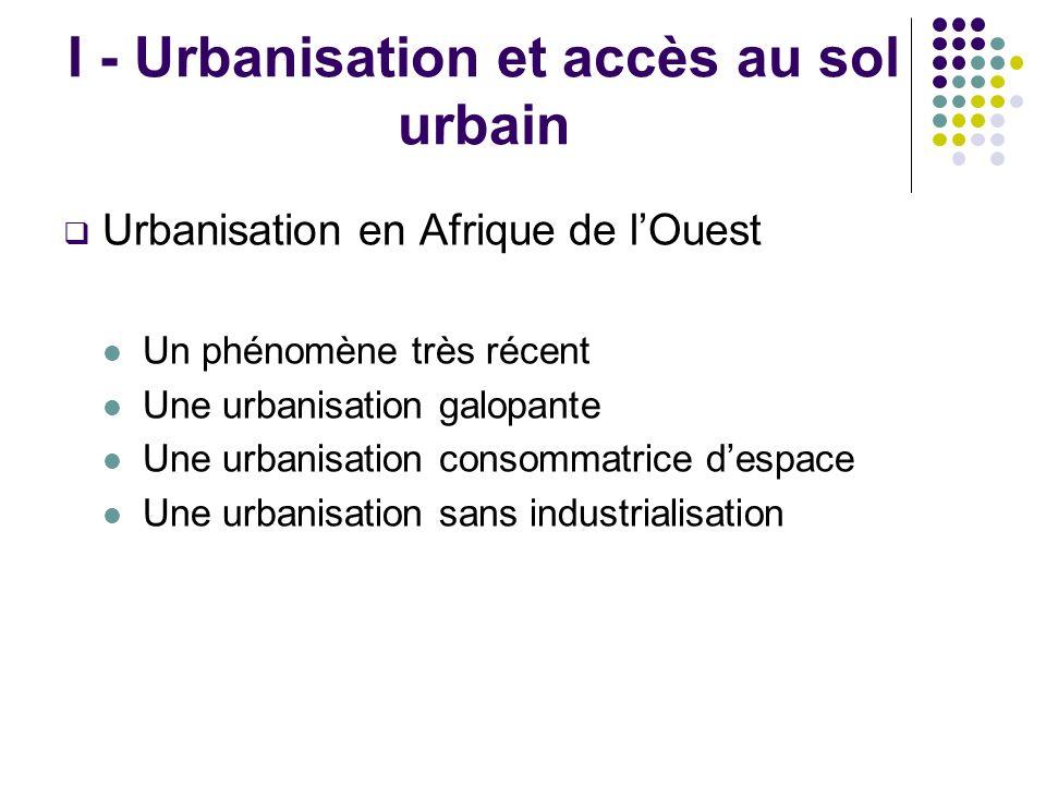 I - Urbanisation et accès au sol urbain Urbanisation en Afrique de lOuest Un phénomène très récent Une urbanisation galopante Une urbanisation consommatrice despace Une urbanisation sans industrialisation
