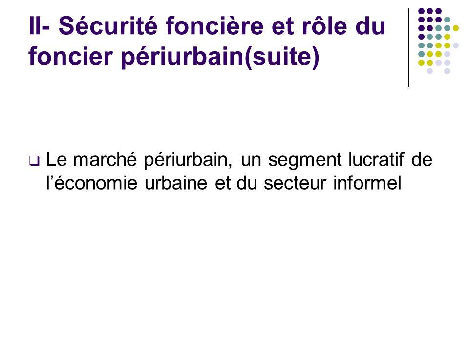 II- Sécurité foncière et rôle du foncier périurbain(suite) Le marché périurbain, un segment lucratif de léconomie urbaine et du secteur informel