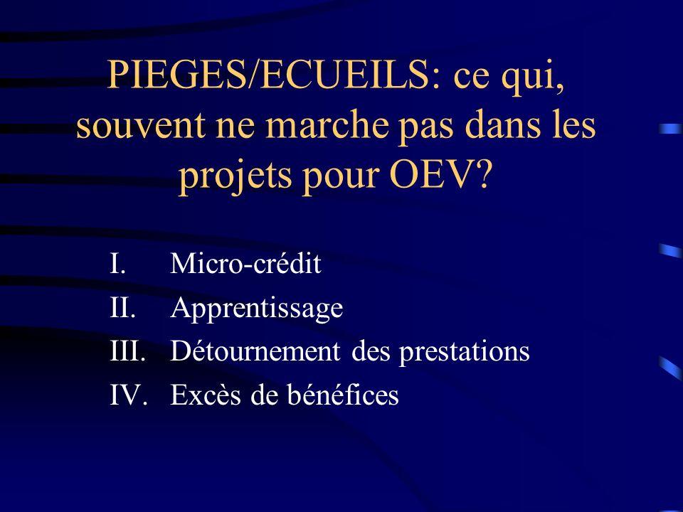 PIEGES/ECUEILS: ce qui, souvent ne marche pas dans les projets pour OEV? I.Micro-crédit II.Apprentissage III.Détournement des prestations IV.Excès de