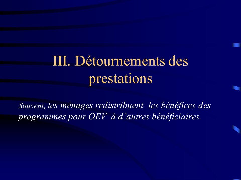 III. Détournements des prestations Souvent, l es ménages redistribuent les bénéfices des programmes pour OEV à dautres bénéficiaires.