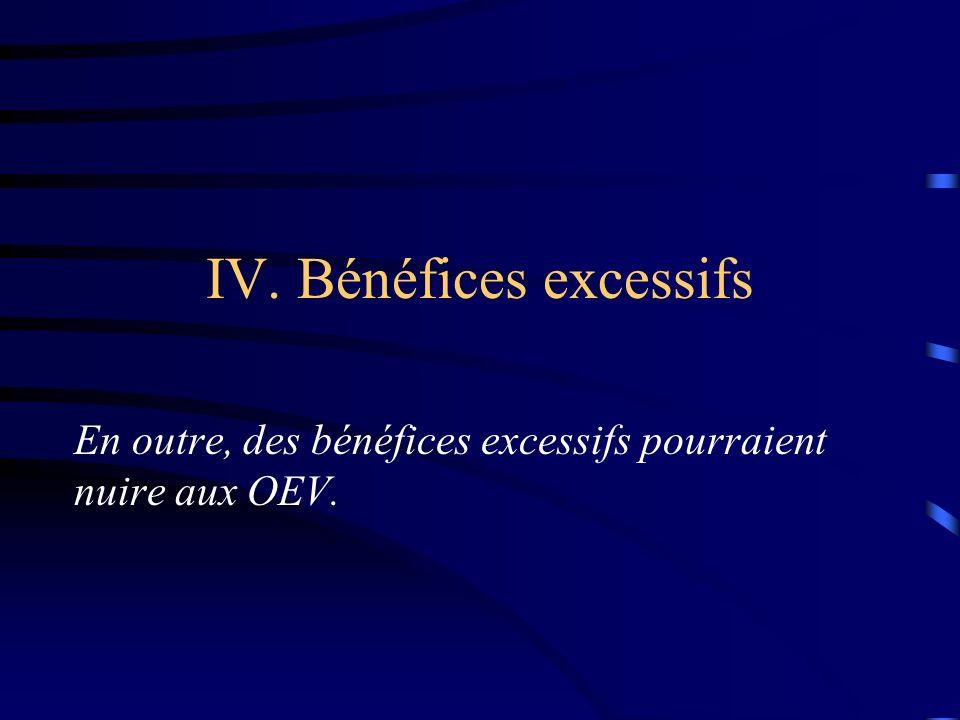 IV. Bénéfices excessifs En outre, des bénéfices excessifs pourraient nuire aux OEV.