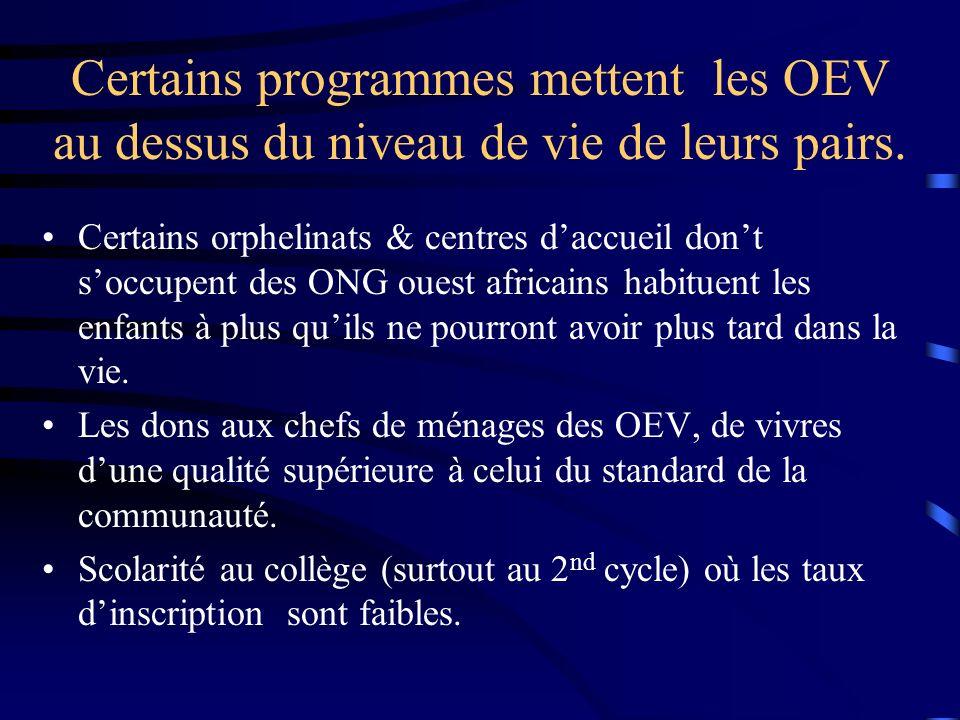 Certains programmes mettent les OEV au dessus du niveau de vie de leurs pairs. Certains orphelinats & centres daccueil dont soccupent des ONG ouest af