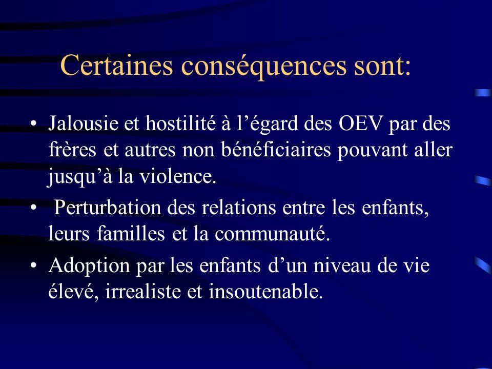 Certaines conséquences sont: Jalousie et hostilité à légard des OEV par des frères et autres non bénéficiaires pouvant aller jusquà la violence. Pertu