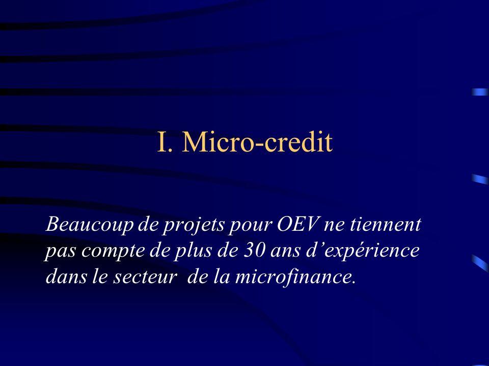 I. Micro-credit Beaucoup de projets pour OEV ne tiennent pas compte de plus de 30 ans dexpérience dans le secteur de la microfinance.