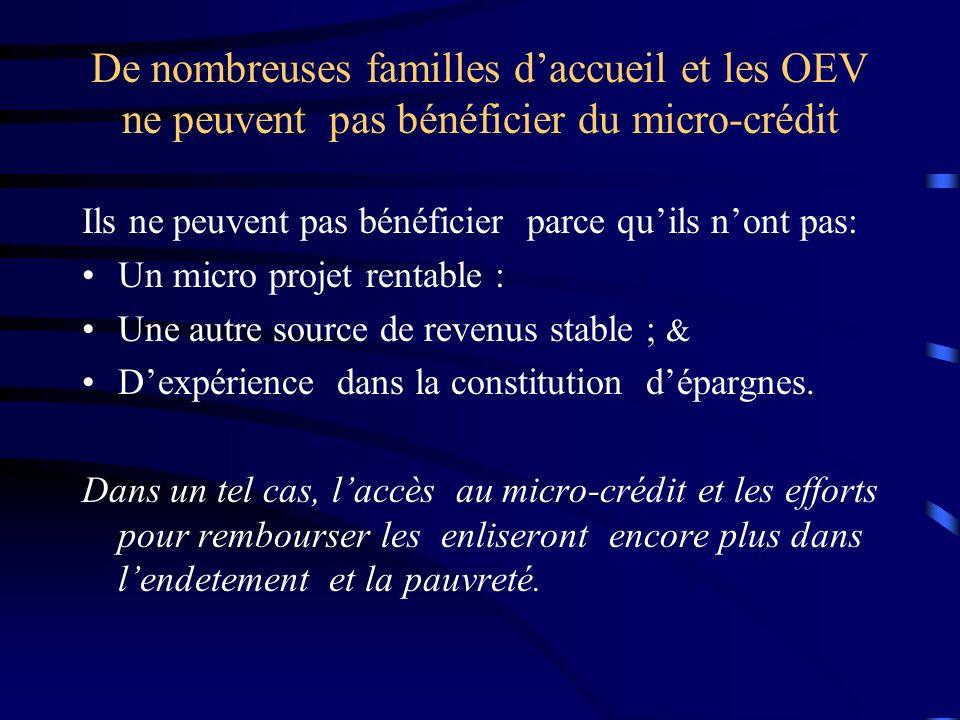 De nombreuses familles daccueil et les OEV ne peuvent pas bénéficier du micro-crédit Ils ne peuvent pas bénéficier parce quils nont pas: Un micro projet rentable : Une autre source de revenus stable ; & Dexpérience dans la constitution dépargnes.