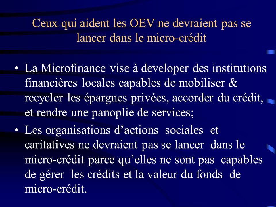 Ceux qui aident les OEV ne devraient pas se lancer dans le micro-crédit La Microfinance vise à developer des institutions financières locales capables de mobiliser & recycler les épargnes privées, accorder du crédit, et rendre une panoplie de services; Les organisations dactions sociales et caritatives ne devraient pas se lancer dans le micro-crédit parce quelles ne sont pas capables de gérer les crédits et la valeur du fonds de micro-crédit.