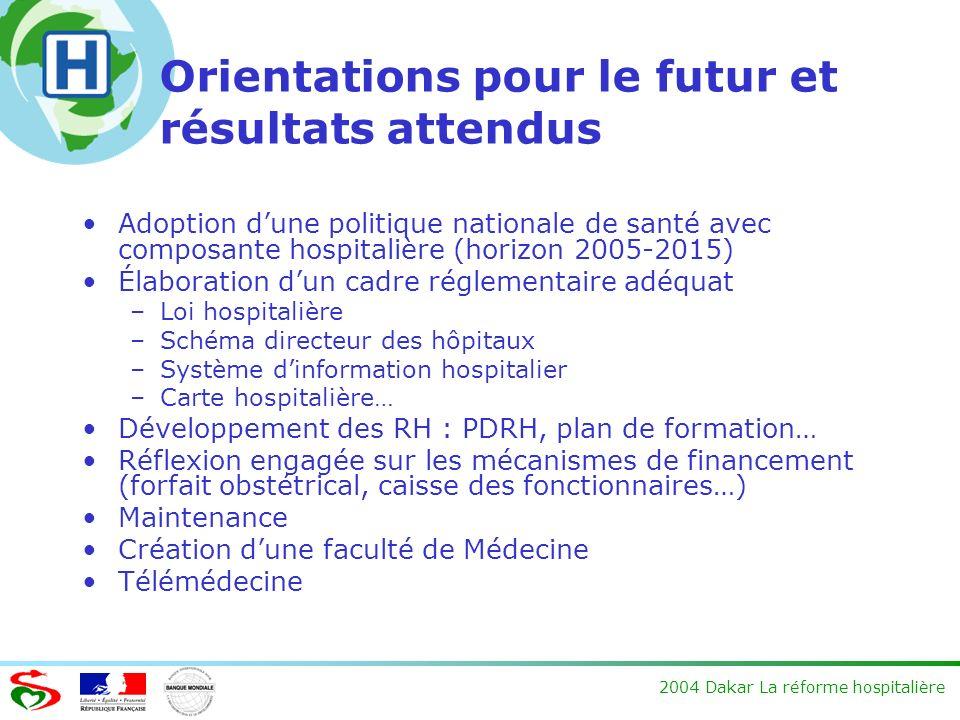 2004 Dakar La réforme hospitalière Orientations pour le futur et résultats attendus Adoption dune politique nationale de santé avec composante hospita