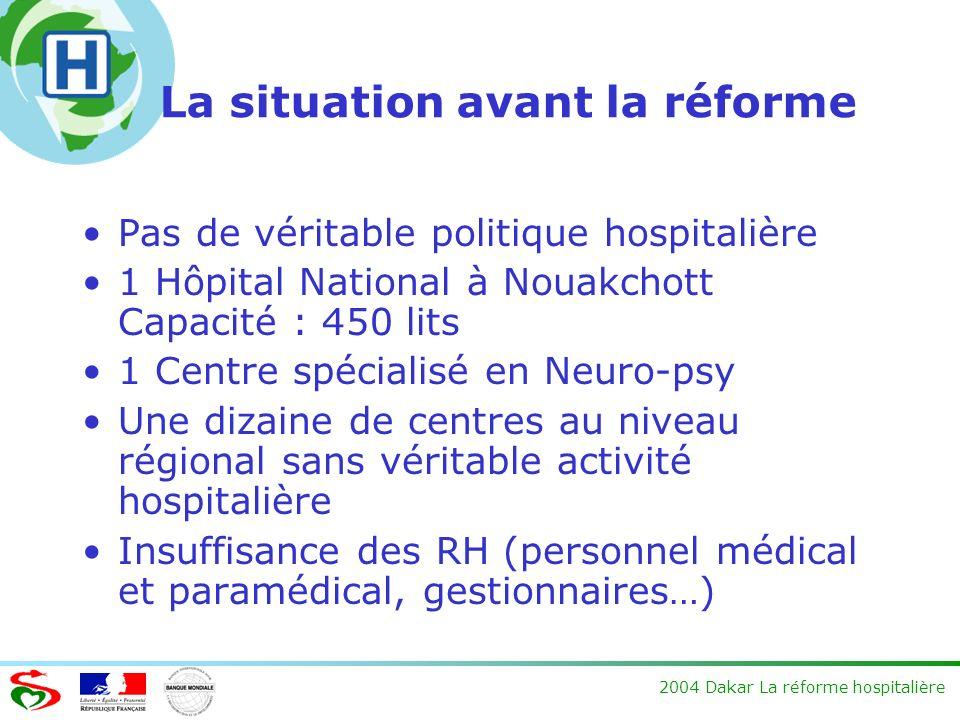2004 Dakar La réforme hospitalière La situation avant la réforme Pas de véritable politique hospitalière 1 Hôpital National à Nouakchott Capacité : 45