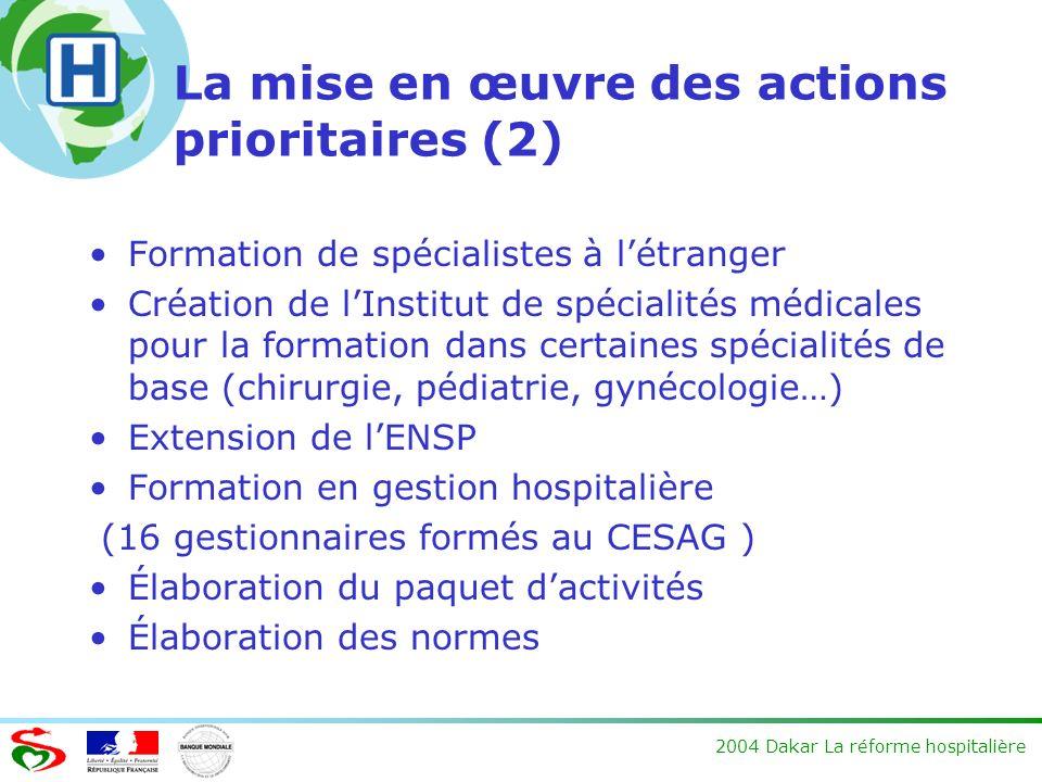 2004 Dakar La réforme hospitalière La mise en œuvre des actions prioritaires (2) Formation de spécialistes à létranger Création de lInstitut de spécia