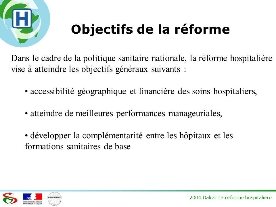 2004 Dakar La réforme hospitalière Objectifs de la réforme Dans le cadre de la politique sanitaire nationale, la réforme hospitalière vise à atteindre