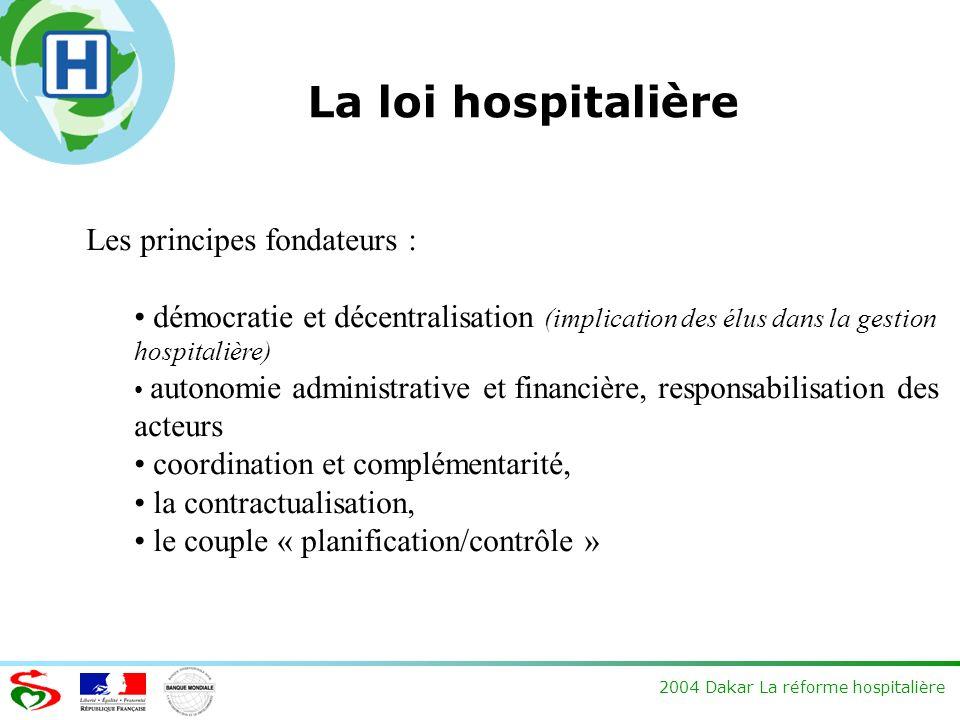 2004 Dakar La réforme hospitalière La loi hospitalière Les principes fondateurs : démocratie et décentralisation (implication des élus dans la gestion