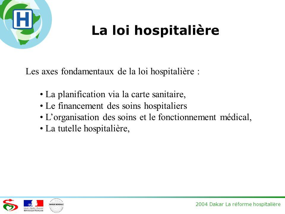 2004 Dakar La réforme hospitalière La loi hospitalière Les axes fondamentaux de la loi hospitalière : La planification via la carte sanitaire, Le fina