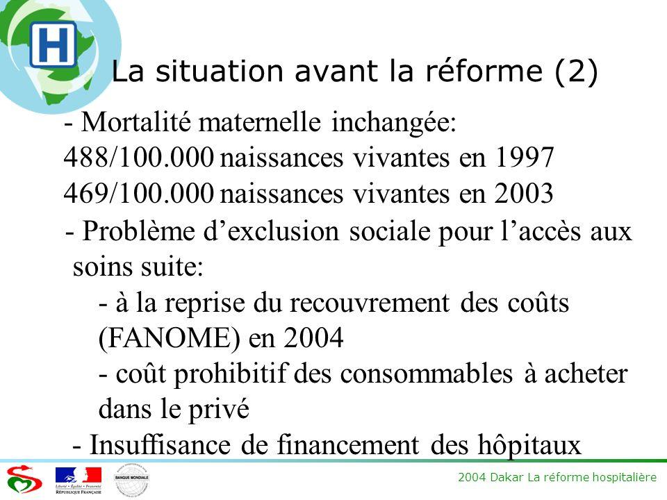 2004 Dakar La réforme hospitalière La situation avant la réforme (2) - Mortalité maternelle inchangée: 488/100.000 naissances vivantes en 1997 469/100