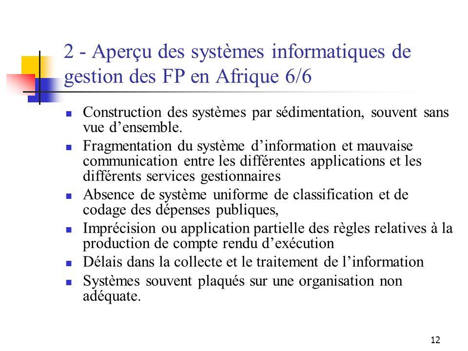 12 2 - Aperçu des systèmes informatiques de gestion des FP en Afrique 6/6 Construction des systèmes par sédimentation, souvent sans vue densemble. Fra