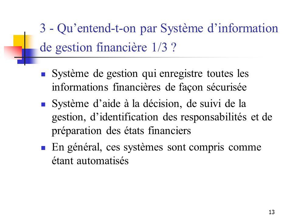 13 3 - Quentend-t-on par Système dinformation de gestion financière 1/3 ? Système de gestion qui enregistre toutes les informations financières de faç
