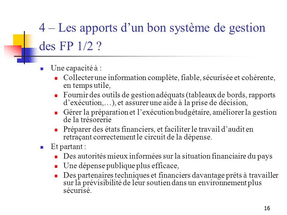 16 4 – Les apports dun bon système de gestion des FP 1/2 ? Une capacité à : Collecter une information complète, fiable, sécurisée et cohérente, en tem