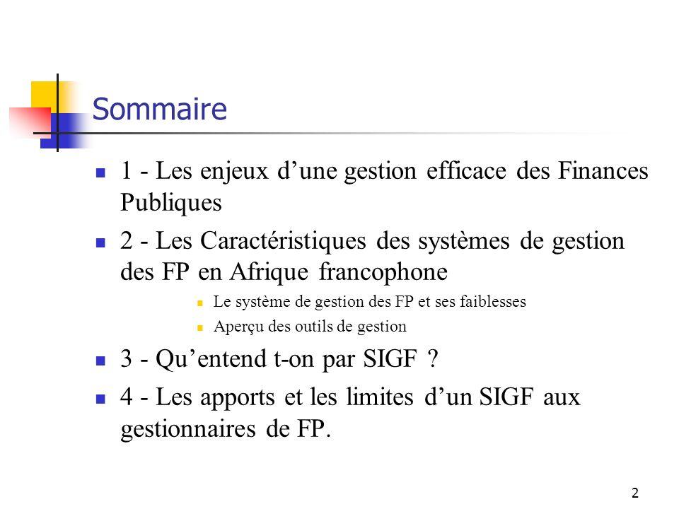 2 Sommaire 1 - Les enjeux dune gestion efficace des Finances Publiques 2 - Les Caractéristiques des systèmes de gestion des FP en Afrique francophone