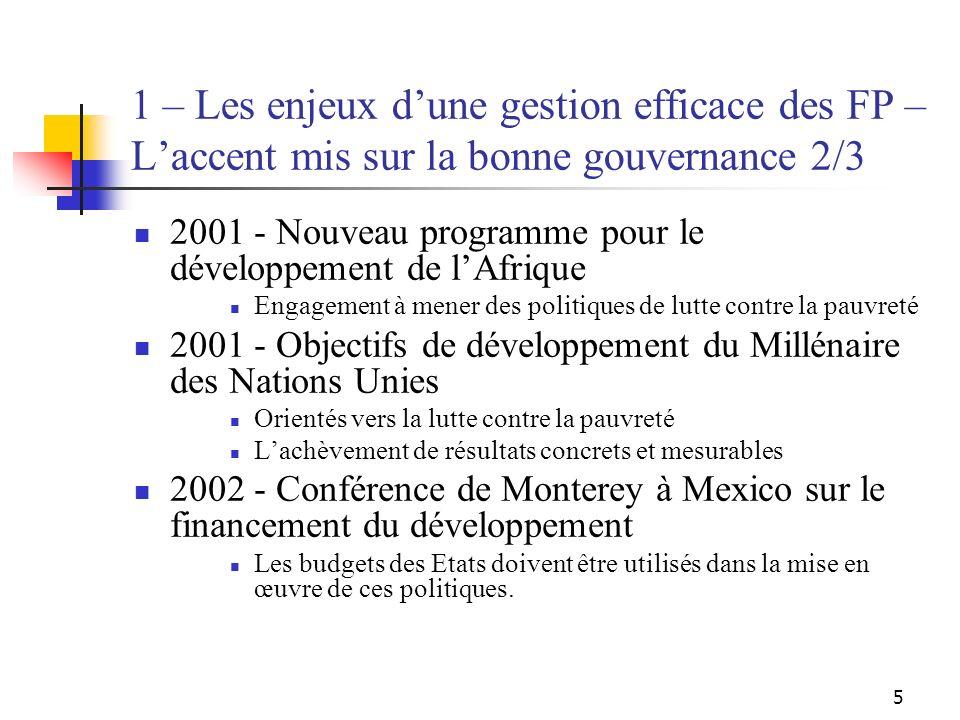 5 1 – Les enjeux dune gestion efficace des FP – Laccent mis sur la bonne gouvernance 2/3 2001 - Nouveau programme pour le développement de lAfrique En