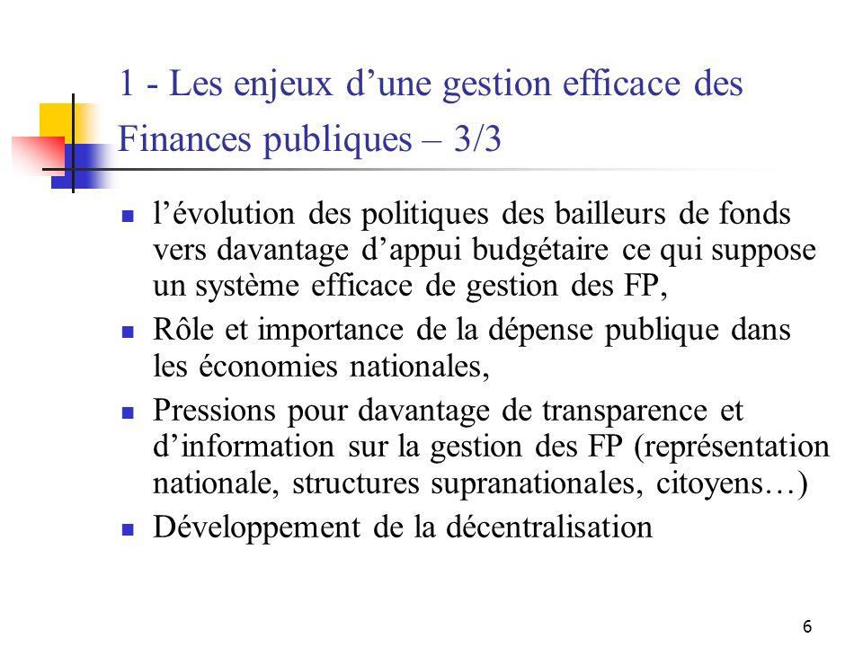 6 1 - Les enjeux dune gestion efficace des Finances publiques – 3/3 lévolution des politiques des bailleurs de fonds vers davantage dappui budgétaire