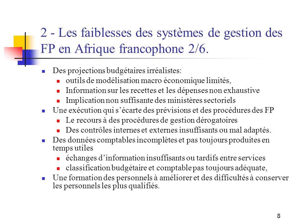 8 2 - Les faiblesses des systèmes de gestion des FP en Afrique francophone 2/6. Des projections budgétaires irréalistes: outils de modélisation macro