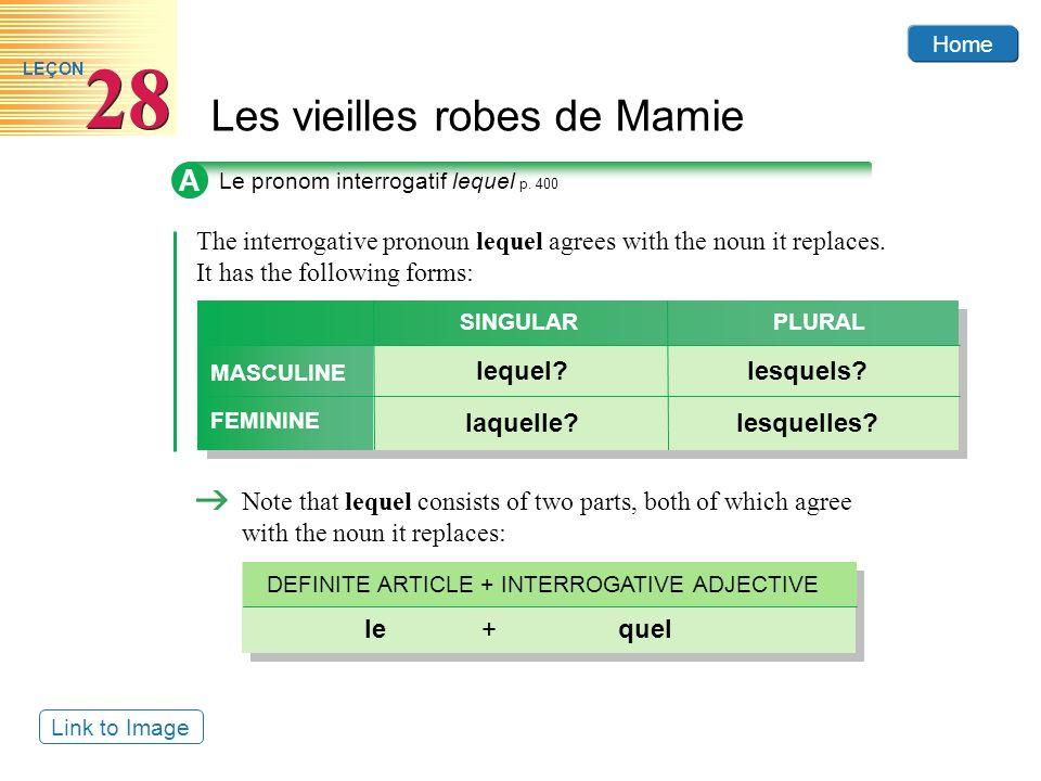 Home Les vieilles robes de Mamie 28 LEÇON A Le pronom interrogatif lequel p.