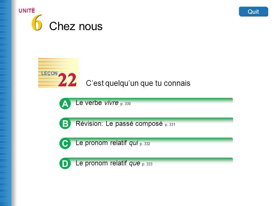Home Cest quelquun que tu connais 22 LEÇON Link to Image A Le verbe vivre p.