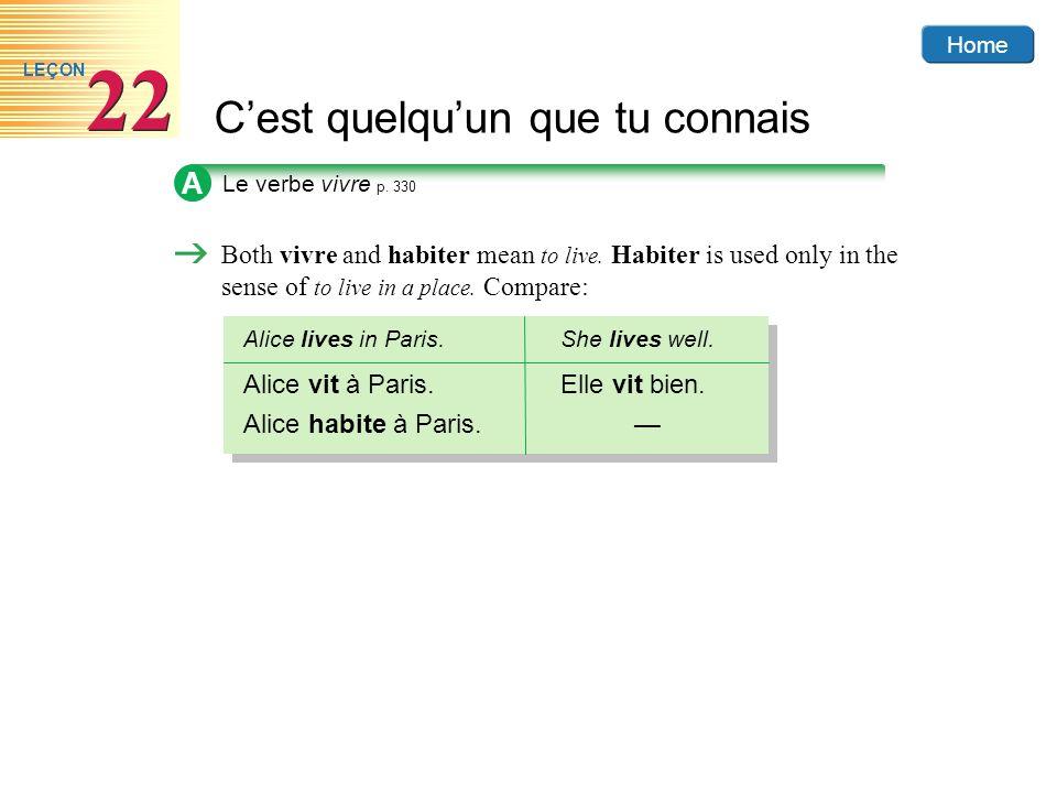 Home Cest quelquun que tu connais 22 LEÇON B Review the forms of the PASSÉ COMPOSÉ in the following pairs of sentences.