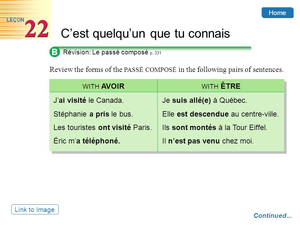 Home Cest quelquun que tu connais 22 LEÇON B Review the forms of the PASSÉ COMPOSÉ in the following pairs of sentences. Révision: Le passé composé p.