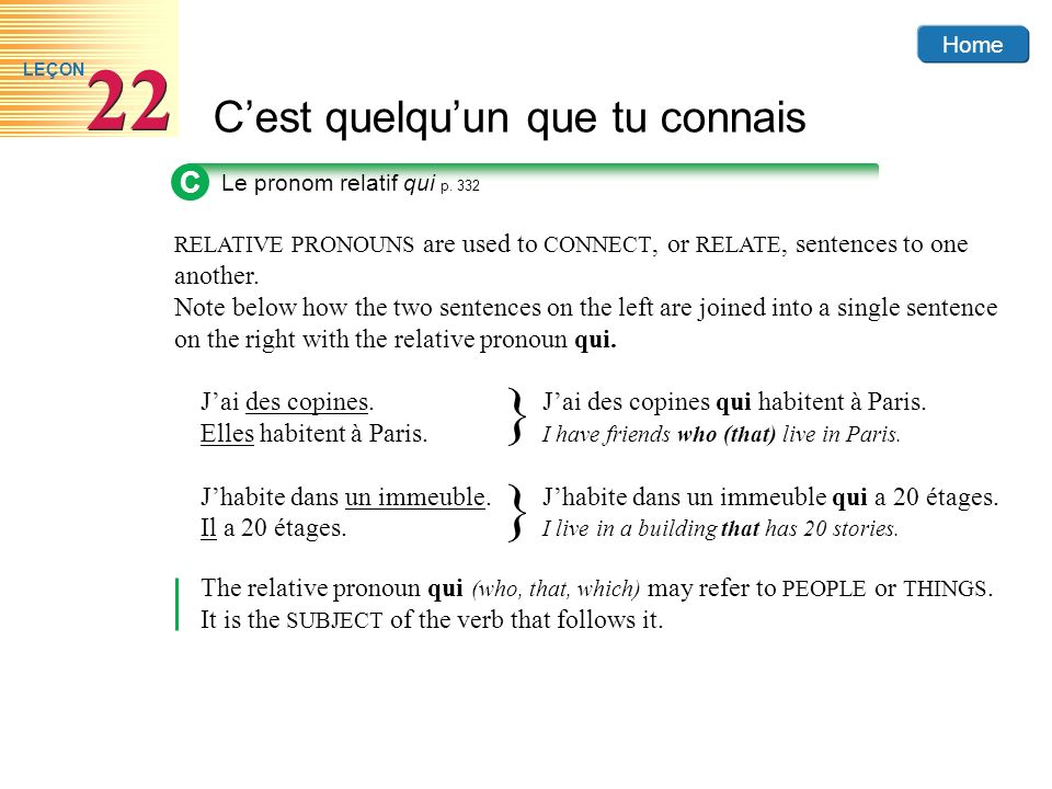 Home Cest quelquun que tu connais 22 LEÇON RELATIVE PRONOUNS are used to CONNECT, or RELATE, sentences to one another. Note below how the two sentence