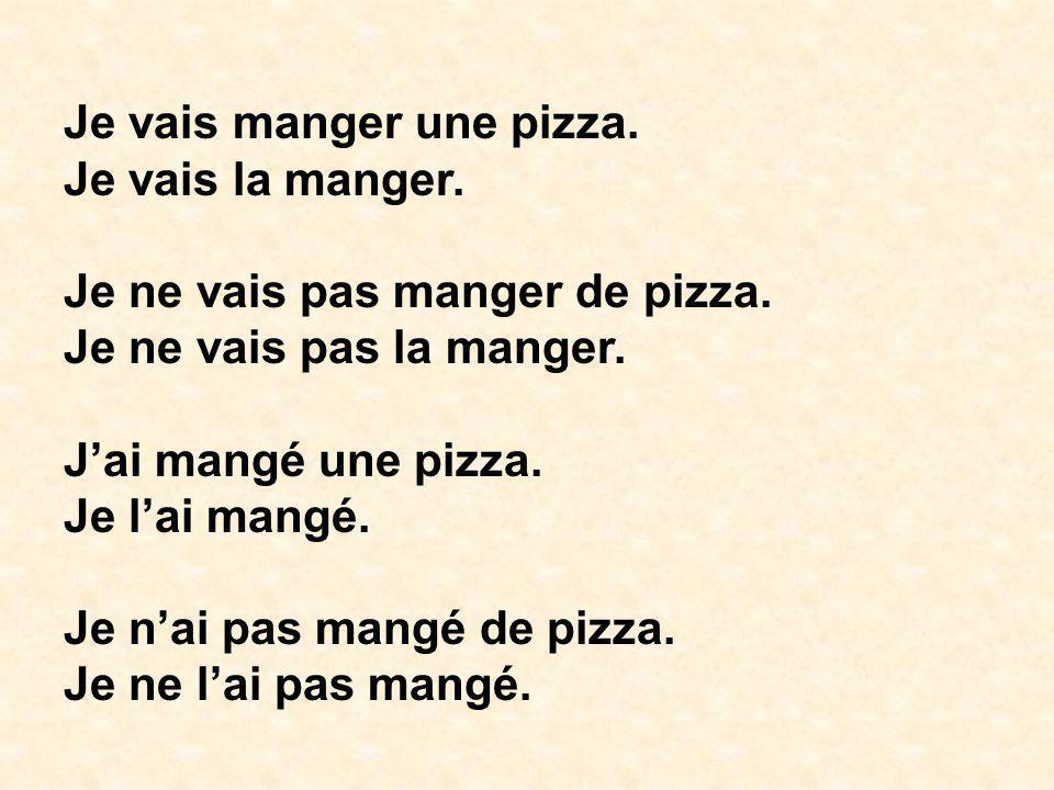 Je vais manger une pizza. Je vais la manger. Je ne vais pas manger de pizza. Je ne vais pas la manger. Jai mangé une pizza. Je lai mangé. Je nai pas m