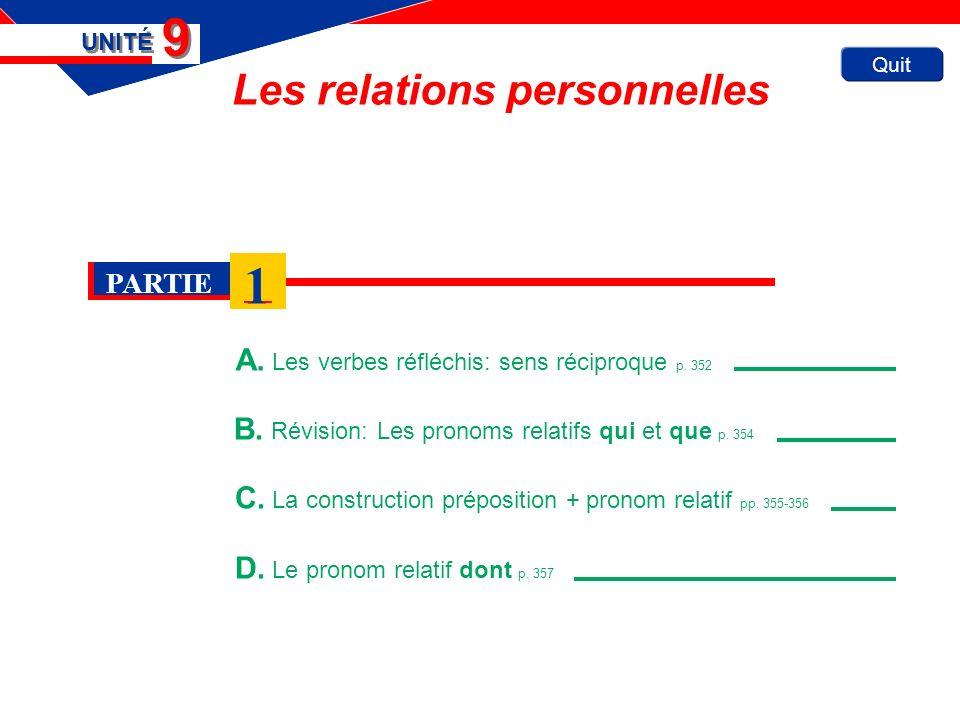 Quit Les relations personnelles A. Les verbes réfléchis: sens réciproque p.