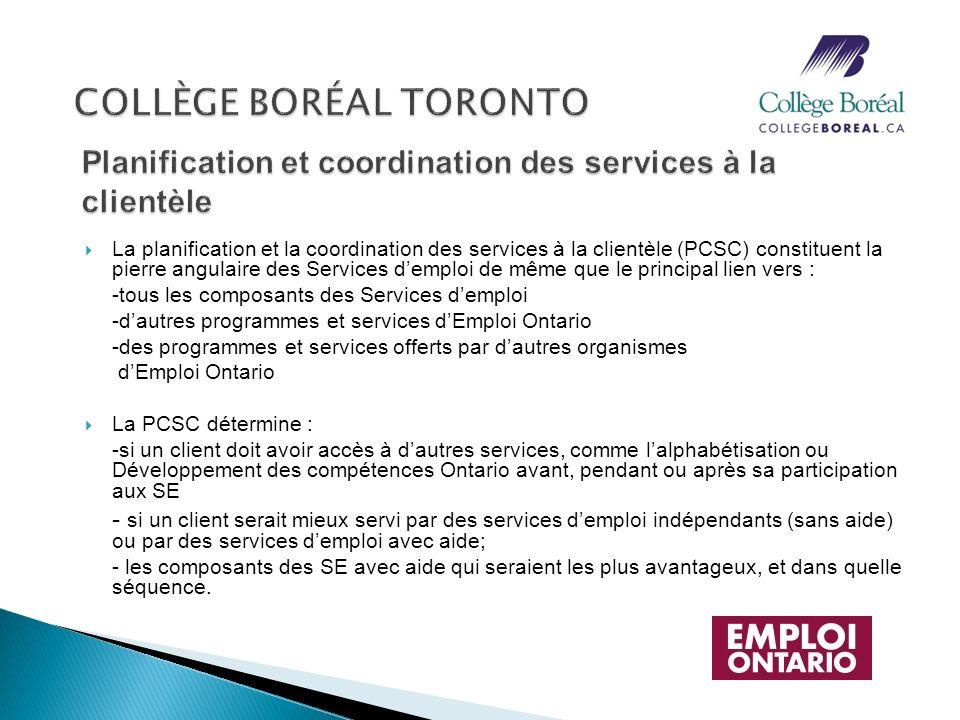 La planification et la coordination des services à la clientèle (PCSC) constituent la pierre angulaire des Services demploi de même que le principal l