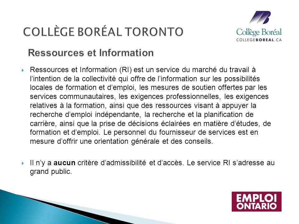 Ressources et Information (RI) est un service du marché du travail à lintention de la collectivité qui offre de linformation sur les possibilités loca