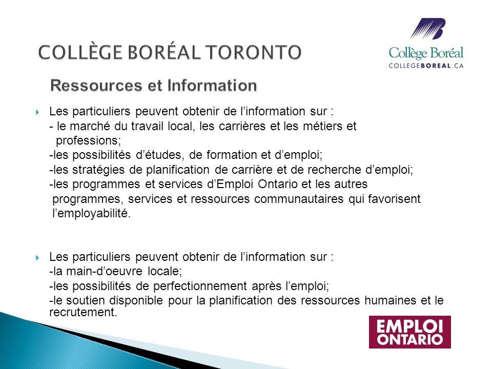 Les particuliers peuvent obtenir de linformation sur : - le marché du travail local, les carrières et les métiers et professions; -les possibilités dé