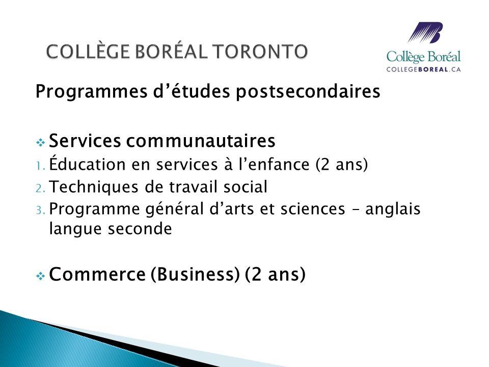 Programmes détudes postsecondaires Services communautaires 1. Éducation en services à lenfance (2 ans) 2. Techniques de travail social 3. Programme gé