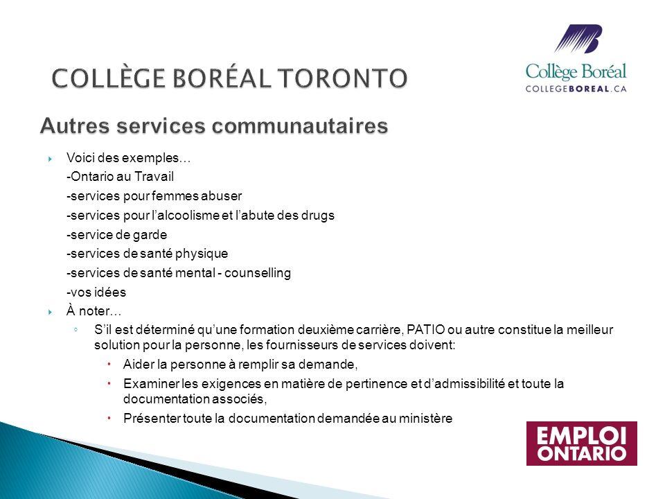 Voici des exemples… -Ontario au Travail -services pour femmes abuser -services pour lalcoolisme et labute des drugs -service de garde -services de san