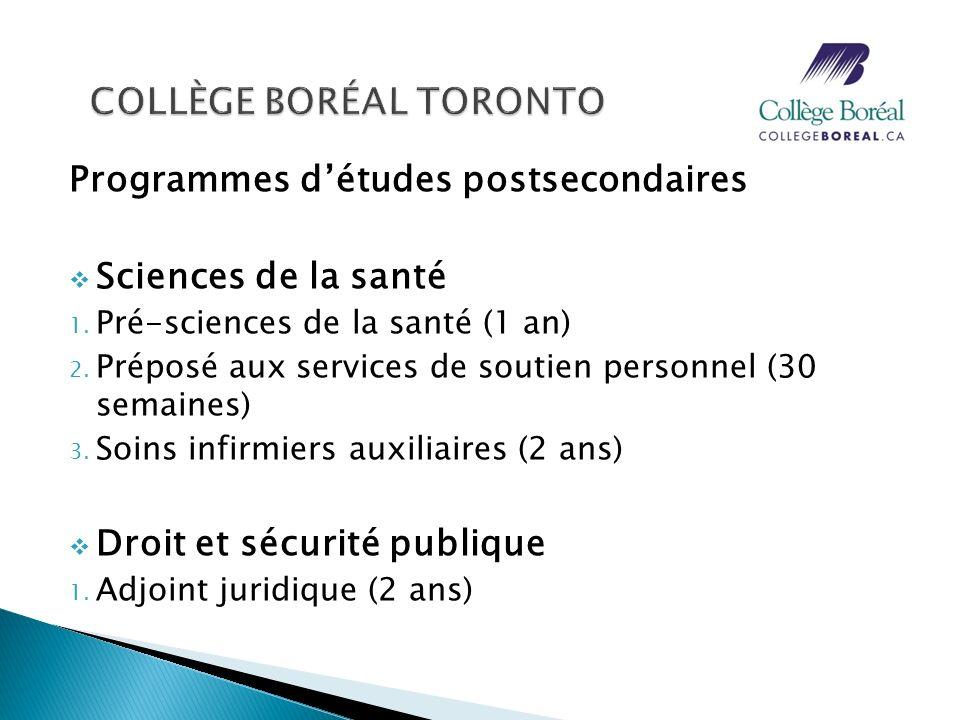 Programmes détudes postsecondaires Sciences de la santé 1. Pré-sciences de la santé (1 an) 2. Préposé aux services de soutien personnel (30 semaines)