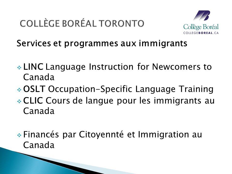 Services et programmes aux immigrants Language Instruction for Newcomers to Canada (LINC) Cours danglais qui visent la communication orale et écrite, la culture et au monde de travail canadiens Niveaux 2 à 7 Résidents permanents et réfugies reçus