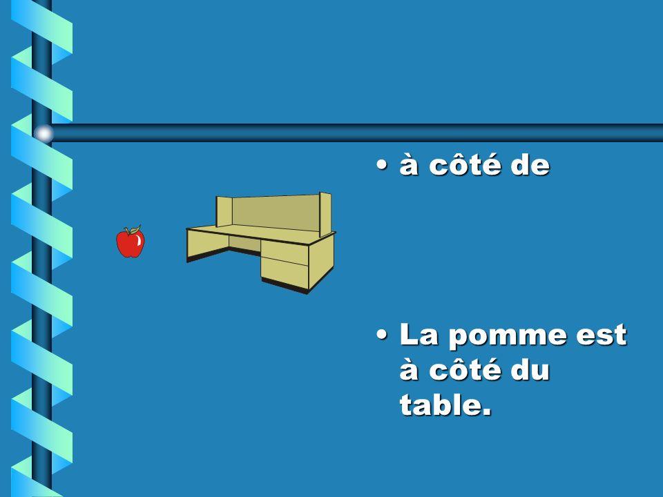à côté de La pomme est à côté du table.