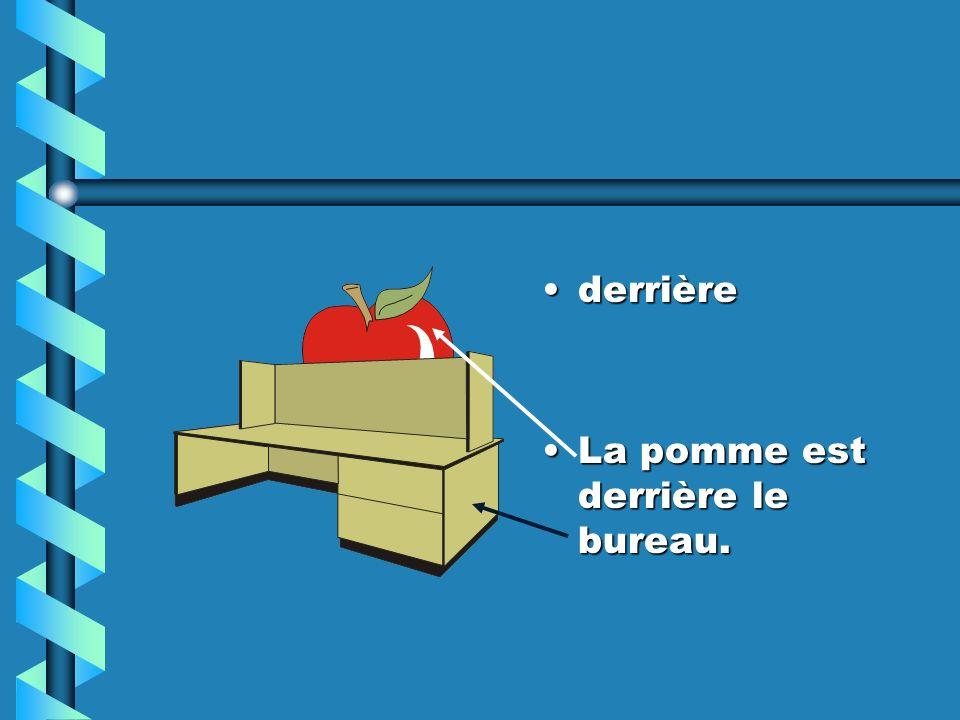derrière La pomme est derrière le bureau.
