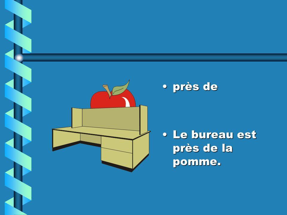 près de Le bureau est près de la pomme.