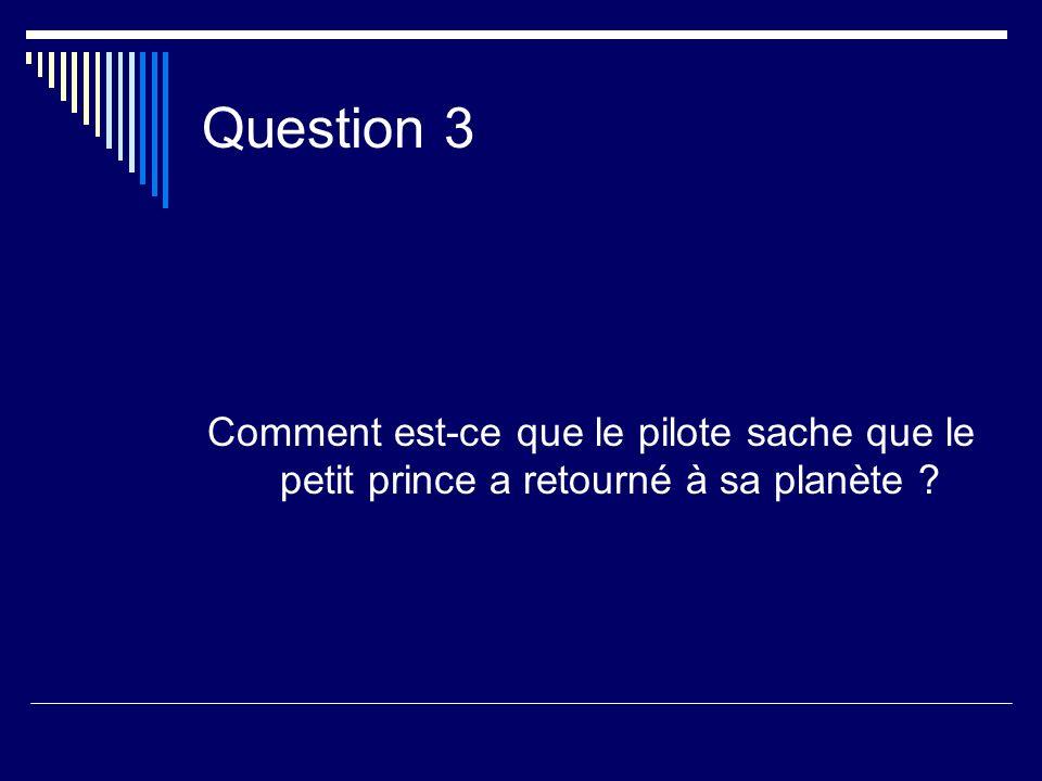 Question 3 Comment est-ce que le pilote sache que le petit prince a retourné à sa planète ?