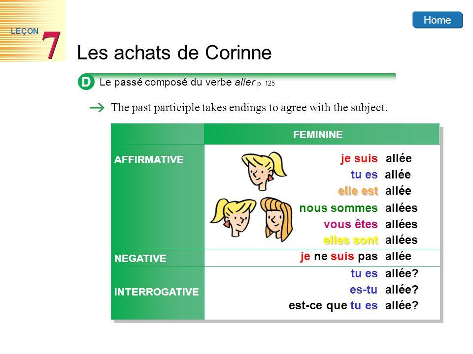 Home Les achats de Corinne 7 7 LEÇON D Le passé composé du verbe aller p. 125 The past participle takes endings to agree with the subject. AFFIRMATIVE