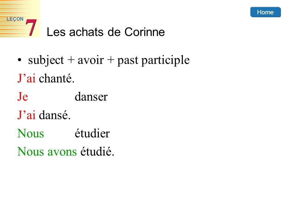 Home Les achats de Corinne 7 7 LEÇON subject + avoir + past participle Jai chanté. Jedanser Jai dansé. Nousétudier Nous avons étudié.